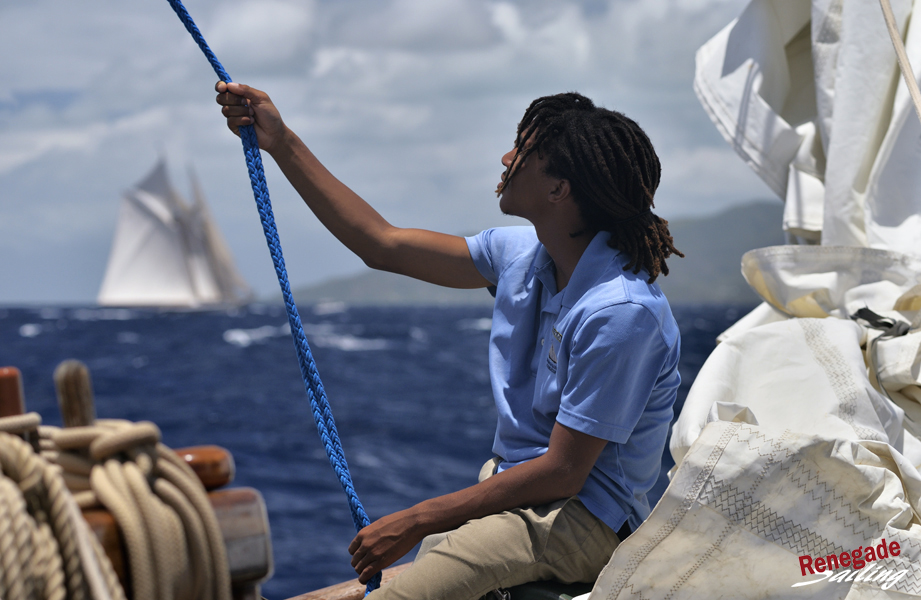 Calm moments onboard  Spirit of Bermuda.  The Schooner  Columbia  in background.