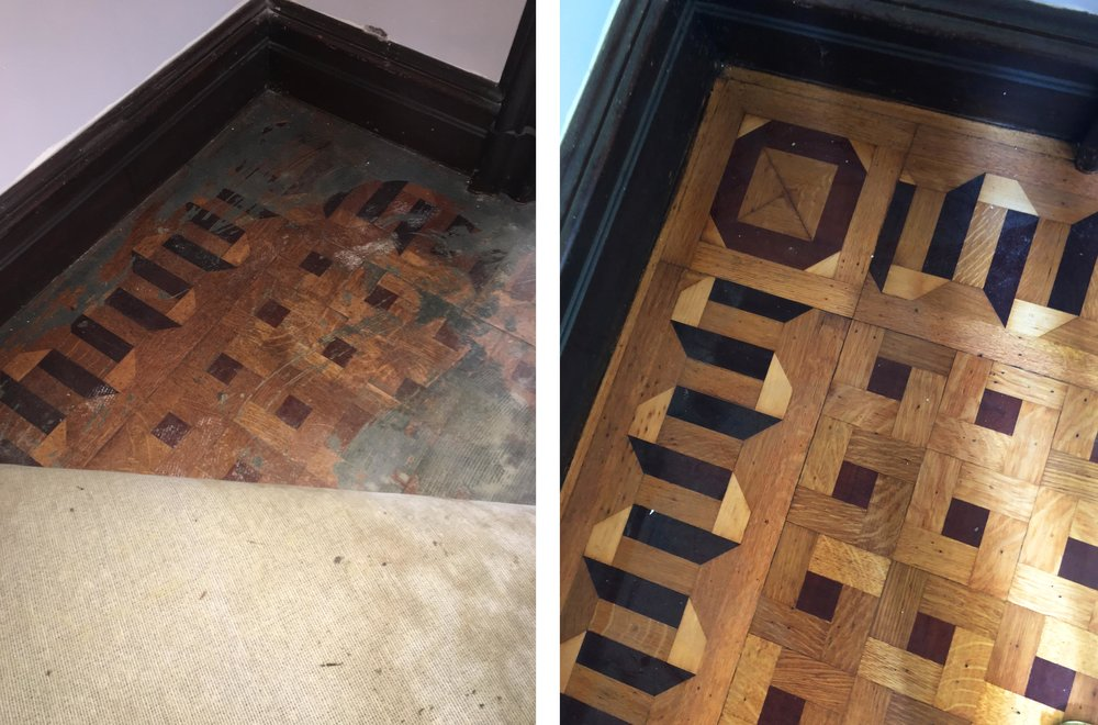 A patch of parquet floor revealed under the carpet that covered them, and after restoration