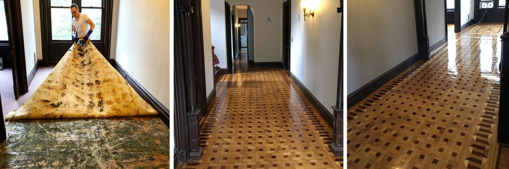 Pulling up carpet, and the restored floors underneath