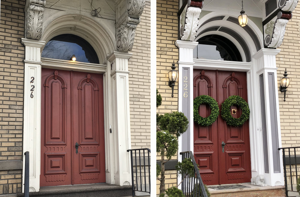 The front entry before and after restoration