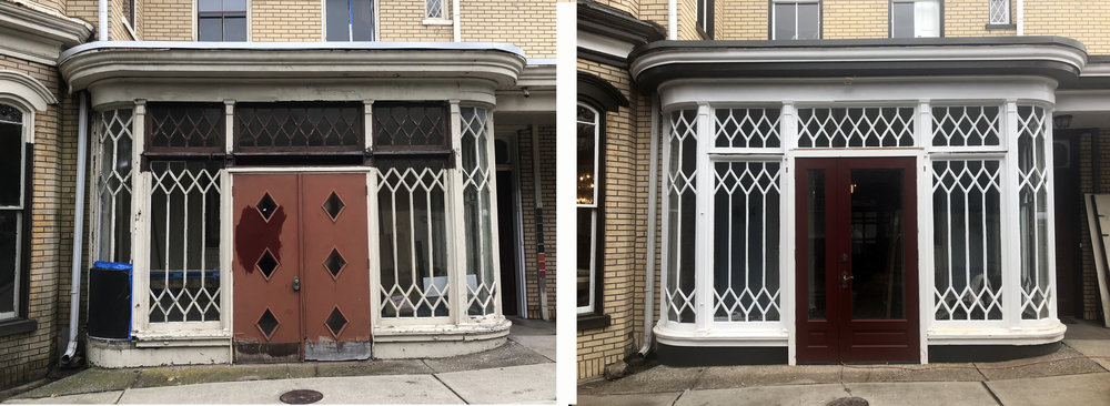 Our historic porch (vestibule) before and after restoration