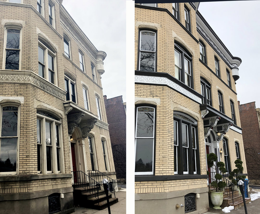 The front facade before and after restoration