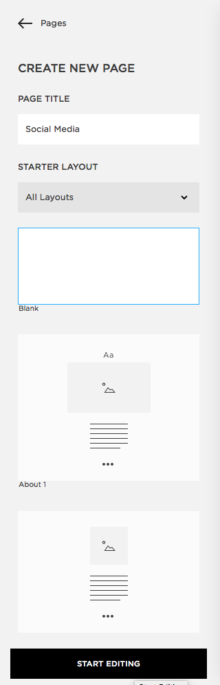 Squarespace add a Blank Page