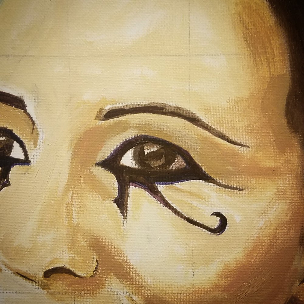 The progress of a painting featuring the Eye of Horus.
