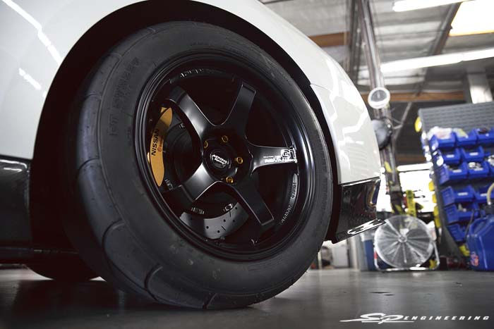 "The 18"" Advan GT's were magical on Wilson's GT-R. It looked right at home mated with M&H drag radial tires."