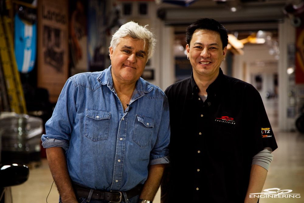 The Bossman himself and comedian TV personality Jay Leno.  Flip through our picture gallery as we managed to snap a good amount of pictures from Jay's garage and his enormous collection of antique automobiles to extreme high end exotics (click thumbnail image for lightbox gallery). Stay tuned folks!