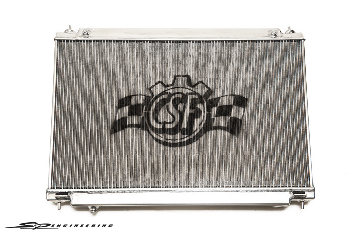 """CSF Radiators recently approached us with their newly released Nissan GT-R radiator. What makes this radiator special compared to others out on the market is that it's the worlds largest capacity drop in dual row core radiator that does not require any modifications to the body of the vehicle. It is rated for over 1000HP;  Great for all the crazies making their way up to that power level.  """"B-Tube"""" technology – Unlike a regular oval shape type radiator tube, CSF uses a specially engineered tue in a shape of a """"B"""". These """"B-Tubes"""" are carefully formed and then brazed over the seam to seal. CSF is able to use thinner and lighter aluminum material (better cooling efficiency) because this design is actually stronger than normal oval shape tubes that are welded.  The design (inlet in the middle of tube that is seam brazed) increases the heat transfer surface area of the tube by approximately 15% over regular tubes. You get the efficiency of 2 smaller tubes vs. 1 large tube within the same space criteria. With """"B-tubes"""" you are able to get """"dual liquid laminar flow."""" The tubes are made from aircraft grade special clad aluminum and are intricately formed on our high precision 6-stage tubeforming mill. No other aftermarket radiator manufacturer uses this technology. This technology raises the bar and sets the standard for high performance radiator cores.  CSF Radiators for your 09+ Nissan GT-R is available to purchase through us for $475.00 + tax.  info@sp-power.com / 626-333-5398"""