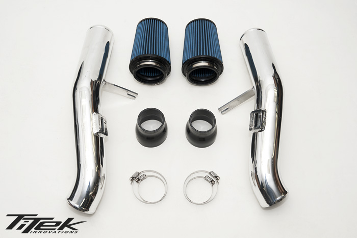 With TiTek's 3″ polished aluminum intake kit for your Nissan GT-R you'll be able to see significant power gains across the entire power band as well as increased turbo spool music to your ears. This kit is a direct replacement of the factory air box and does not require removal of the bumper.  • (2) Polished aluminum intake pipes • (2) TiTek air filters • (2) 4 ply silicone hose • Integrated mounting bracket • Hardware • Easy installation • No bumper removal necessary