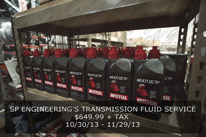 We are having an SPE Transmission Fluid Service for you guys to take advantage of starting from tomorrow morning till November 29, 2013. The price is above. So give us a call to schedule an appointment!  – SP