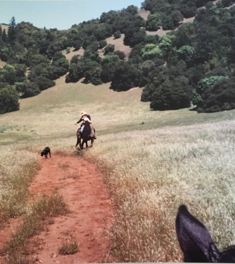Claudette & Her Horse Allegra out on the trail 70's