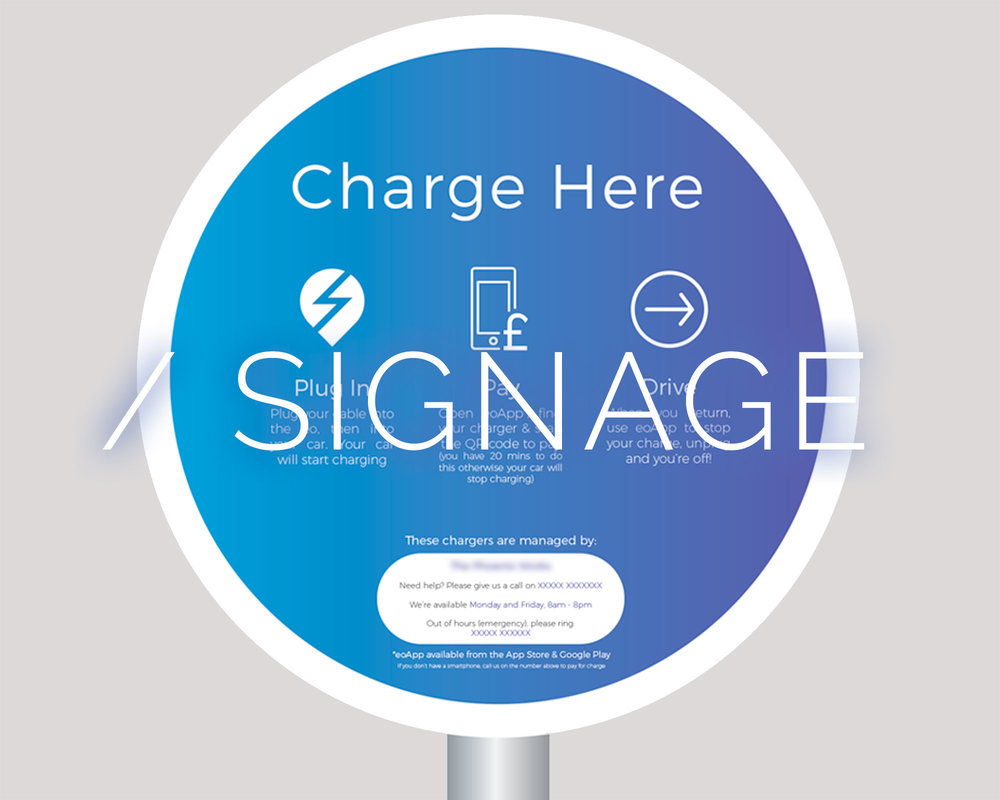 Help people find your EO charge points with our great signage and wayfinding option