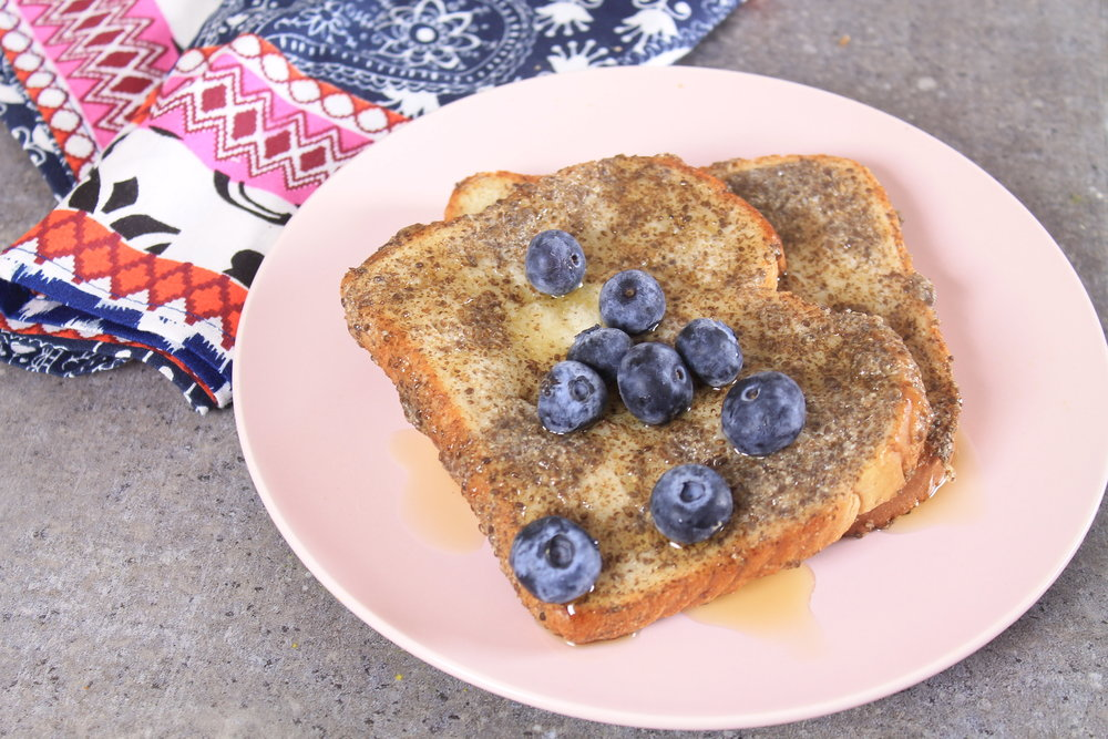 Eggless french toast with chia seeds