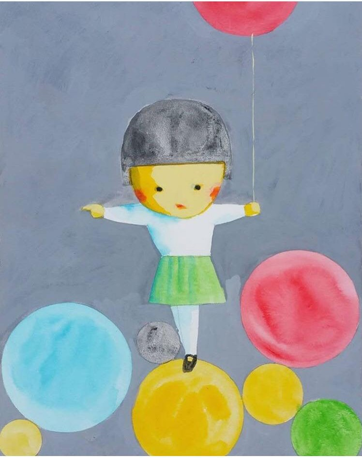 Little Girl and Balloons by Liu Ye