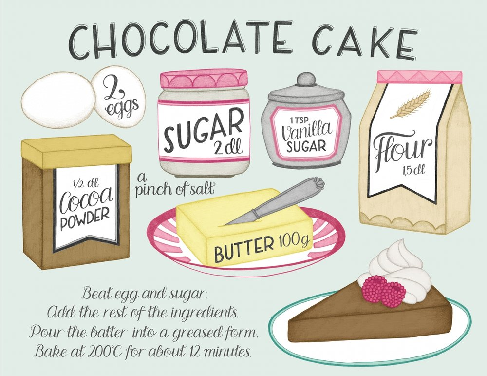 Chocolate cake recipe illustration by Tove Larris.