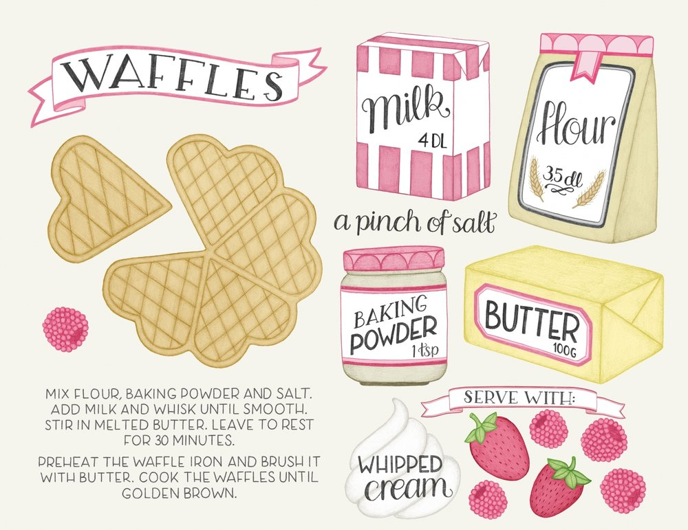 Waffles recipe illustration by Tove Larris.