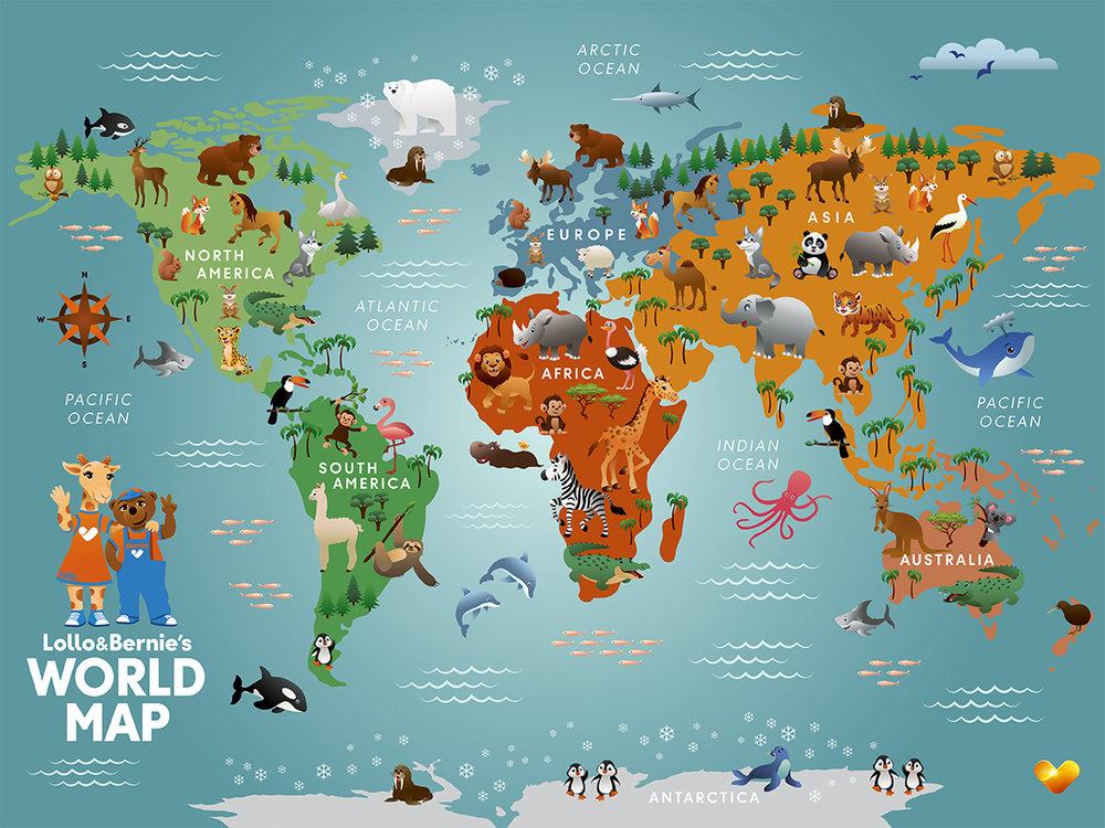 L&B World Map Poster 30x40 cm