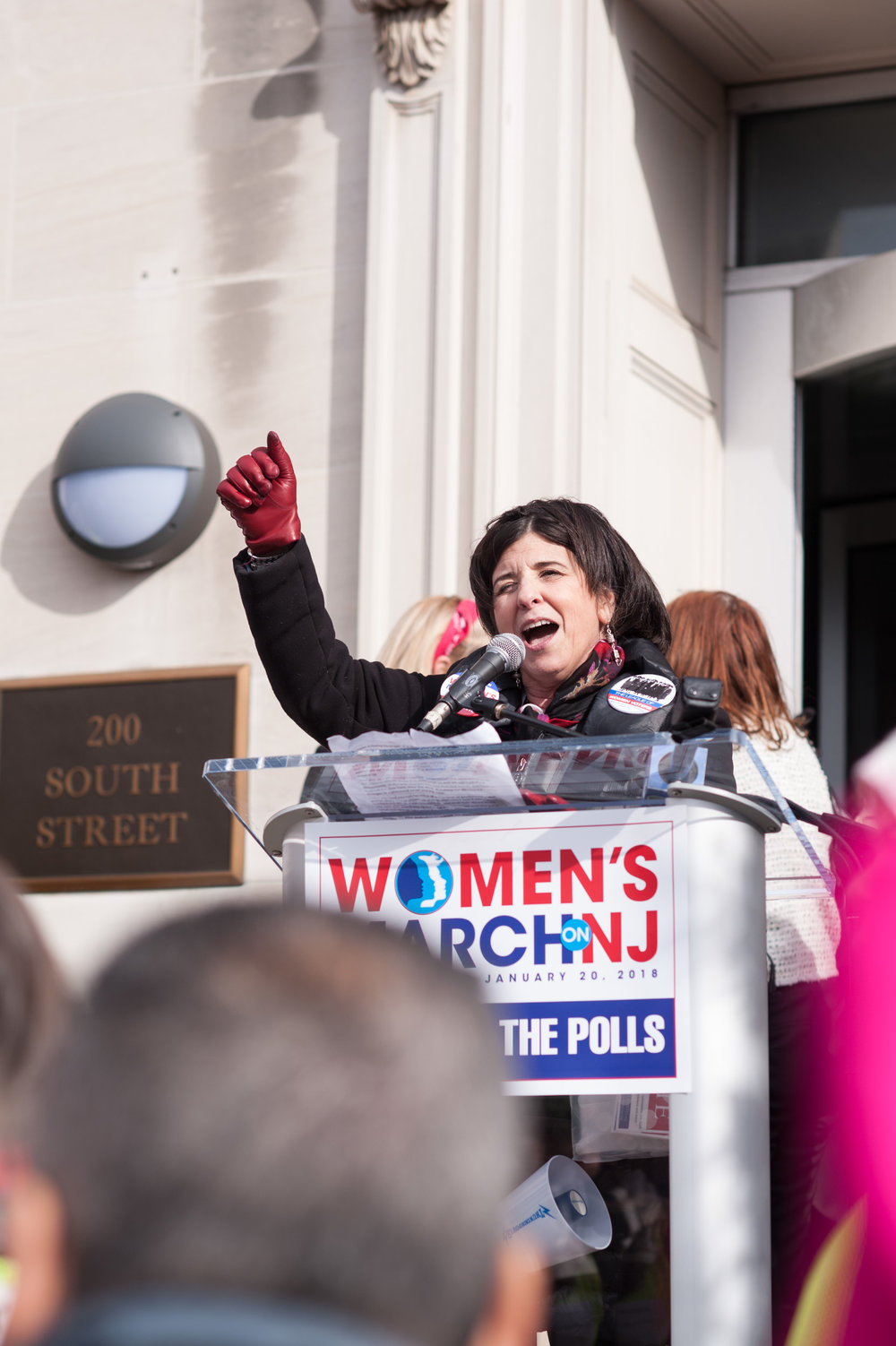 Nancy Hedinger, president of the League of Women Voters at the Women's March on NJ