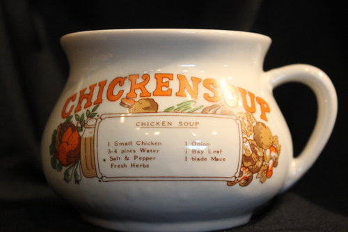 Vintage Chicken Soup Mug Large Cup Recipe Country Kitchen Handle ...