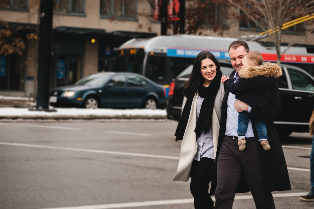 Family walking on streets of Vancouver during family photo session
