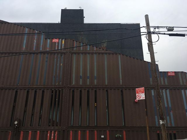 Admirable container design in Brooklyn- a 4-story building that cleverly cut slices into the sides as windows and decor. Should we do a Brooklyn model?