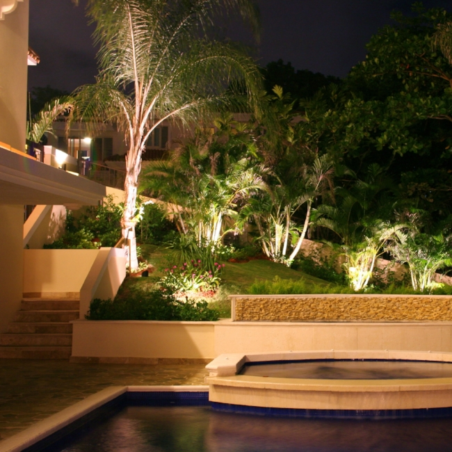 Strategically placed low level lighting can increase security while providing natural ambiance.