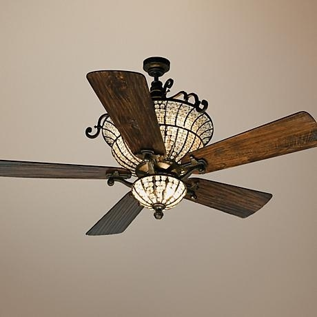 """54"""" Craftmade Cortana In Peruvian With Crystal Ceiling Fan available at  Lamps Plus"""