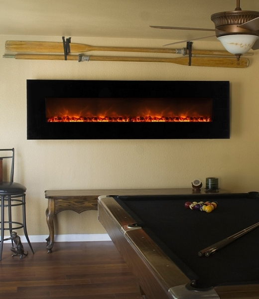 An electric fireplace is a nice way to gussy up the man cave.