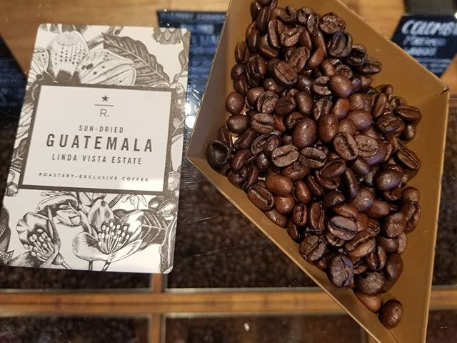 Brand new at the Starbucks Reserve Roastery in Seattle: Roastery exclusive - Sun Dried Guatemala Linda Vista Estate. Flavors of plum and black cherry with a smooth texture. #Roastery #Starbucks Wonderful!