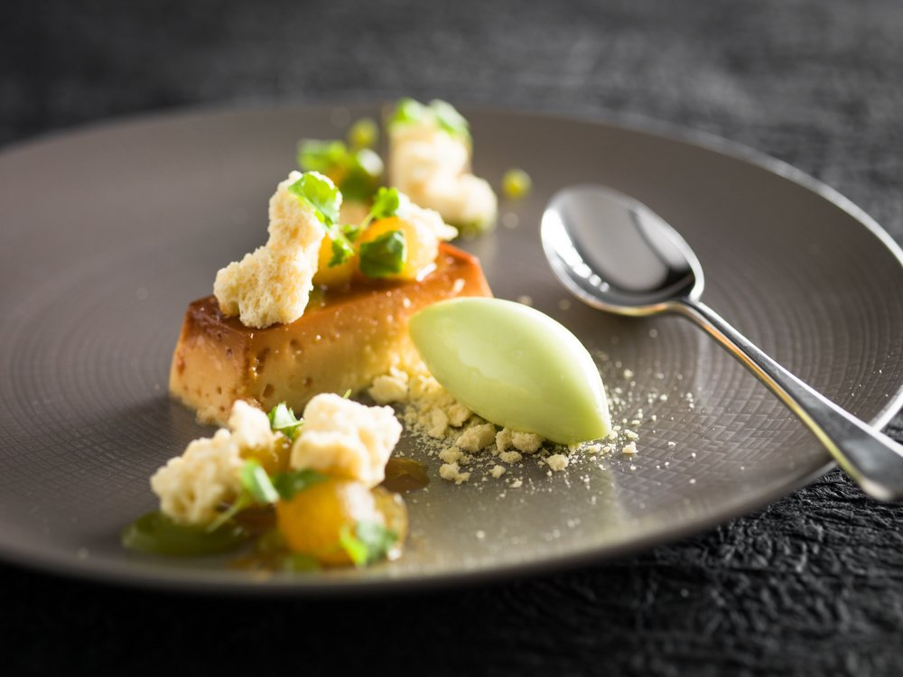 Crème Caramel - Crème Caramel, Caramelised Apple, Dehydrated Sponge, Granny Smith Sorbet 4-min.jpg
