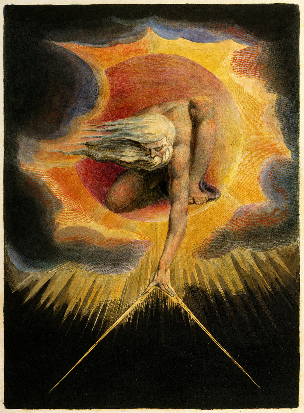 "William Blake.  ""Ancient of Days""   (relief etching with hand coloring), 1794.      Fitzwilliam Museum, Cambridge University."