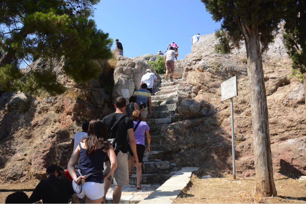 Climbing to the top of Mars Hill in Athens, where St. Paul spoke at the Areopagus.