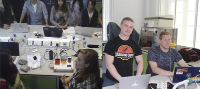Left: Bethan Wolfenden, co-founder of the Bento Bio, showing off the Bento Lab. Right: Stephen O'Connell, Assistant Director of IndieBio EU, with Trevor Nicks, the CSO of algae drink startup Spira. P.S. Nice tee, Stephen… (Credit: CUTEC)