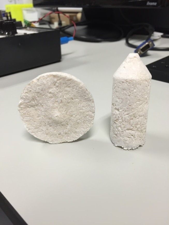 "Figure 1)  3D structures made of ""cellu-poop"". The structure are very light, and have shown no collapse / faults so far (March 2017)."