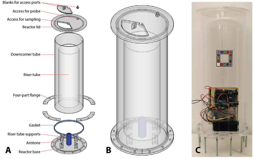 Figure 1: The design of the airlift photobioreactor; (A) a CAD model of the exploded view of the reactor and its components; (B) a CAD model of the assembled reactor; (C) the reactor assembled in the laboratory with the cell counting calibration window and Arduino light meter in place.