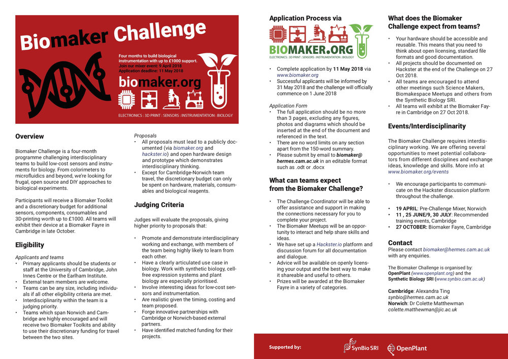 Download information sheet   for the 2018 Biomaker Challenge (2 page PDF, 650 KB)