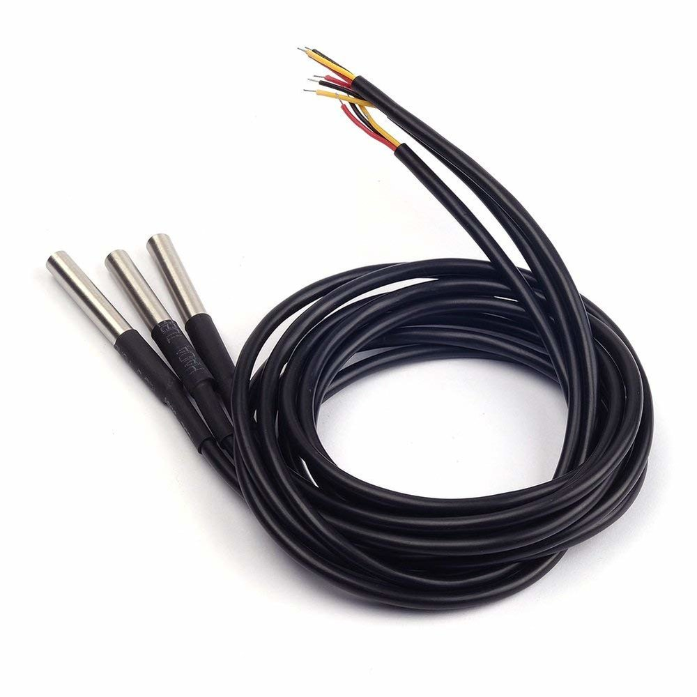 Waterproof, sealed cables containing DS18B20 temperature sensors