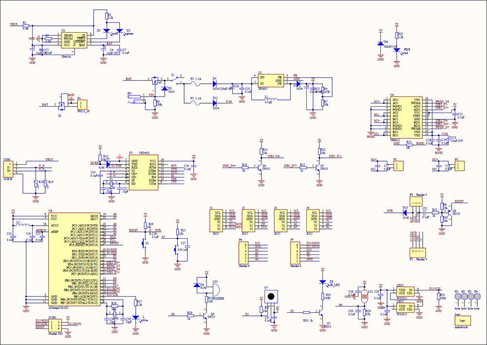 Circuit diagram for the mCore control board of the mBot