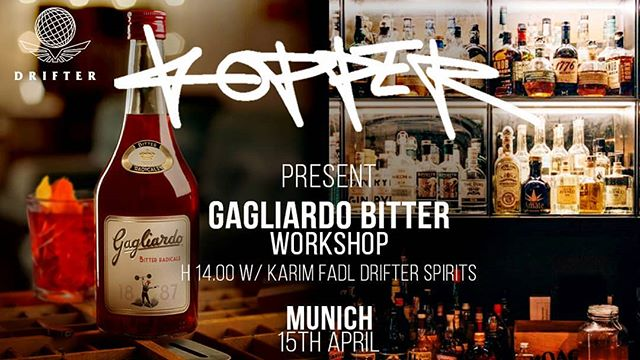 #Munich!  We missed you already - this time, we team up with the great @koppermunich and @shaking_bee to present you the lovely @gagliardo_bitter range.  Book your seats with us for  Monday, 15th April 2019 x 2.00pm  Yours in Spirit,  DRIFTER