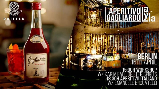 Whoop! Whoop!  Sevens days from now, we bring #Italy and #TelAviv together in #Berlin.  Have an #Aperitivo with us and learn about @gagliardo_bitter - with the amazing @lo_champagnone and @marcoschiavo4.0.  #Salute  #LaylaBerlin #DrifterSpirits  #GagliardoBitter #bevibitter #ArtesanalSpirits