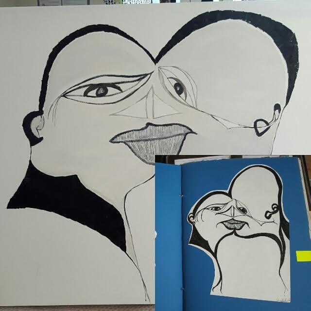 Teckningen till höger gjorde jag i min barndom och målningen vänster är gjord för två år sedan. Parafras på mig själv? ;-)
