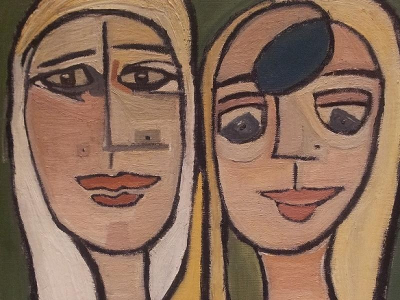 Så här ser tavlan ut, Two women 40 x 50 cm, som såldes för tre år sedan.