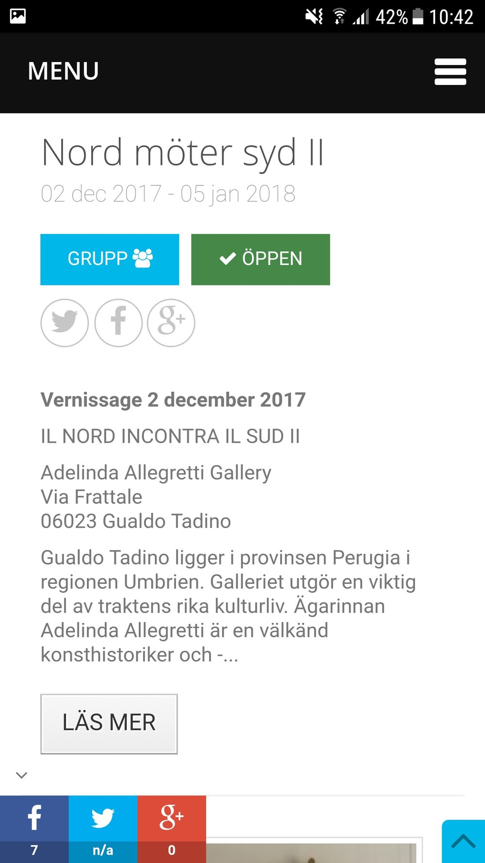 En ny utställning på gång nu i december, arrangör Artnetco och även denna i Italien. www.artnetco.eu/sv/exhibitions/57/nord-moter-syd-ii.html