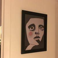 Min tavla som affisch hemma hos nöjd kund och konstnärsvän. Det är så roligt att se den på plats med ram och allt!