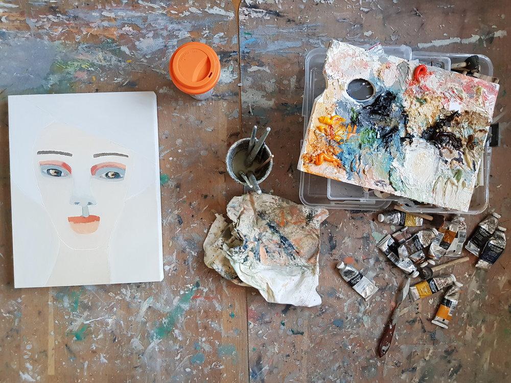 Bild från dagens arbetspass i min lilla ateljé