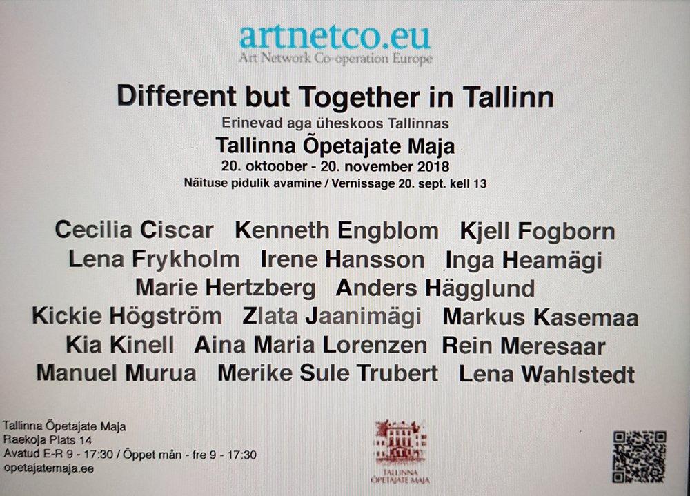 Jag fick förmånen att bli inbjuden att ställa ut i Tallinn, den 20 oktober-20 november. Arrangör Artnetco. Foto: Artnetco,  www.artnetco.eu/sv/exhibitions/67/olika-men-tillsammans-i-tallinn.html