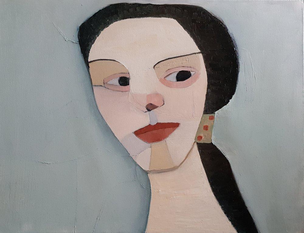 Hommage till Paula Modersohn-Becker, 80 x 60 cm i olja.