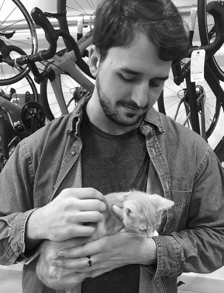 Daniel Mikiten and Milton (Part-time Shop Cat)