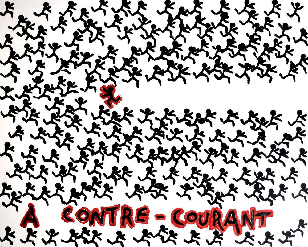 A CONTRE-COURANT  acrylic on canvas, 150x120cm  4'900 euros