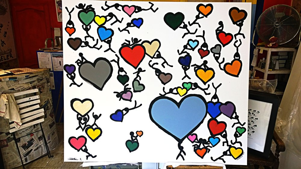 COLOURFUL LOVE  acrylic on canvas, 160x140cm  6'200 euros