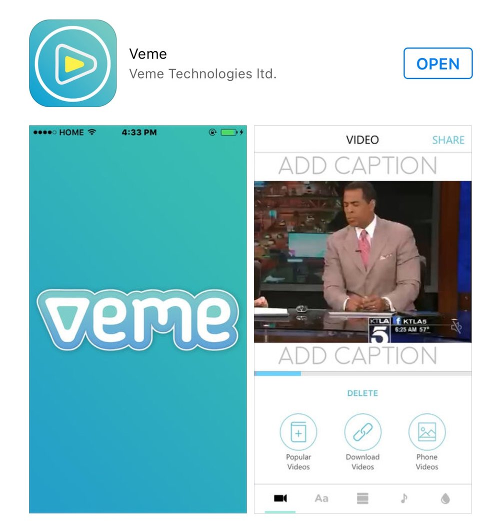 Veme - A Network for 😂 - Now available through the App Store.